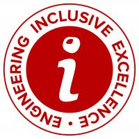"""Circular graphic with a lowercase """"i"""" in the center. There is a buckeye graphic dotting the """"i"""" and """"Engineering Inclusie Excellence"""" text surrounding it."""